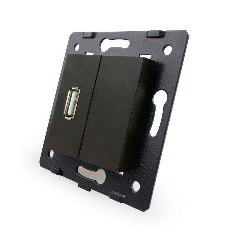 Base enchufe USB, negro